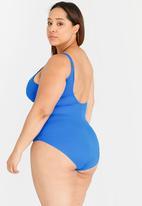 Jacqueline Plus - Wrap Front One Piece Blue