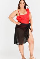 Jacqueline Plus - Mesh Tie Band Skirt Black