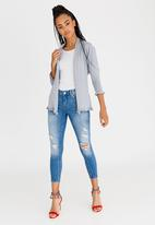 G Couture - Frill Edge Cardigan with Tie Pale Grey