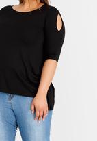 edit Plus - Cold Shoulder T-shirt with 3/4 Sleeves Black