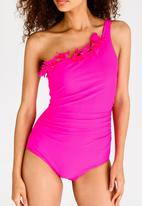 Lithe - Ruffle One Shoulder One Piece Cerise Pink