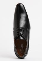 Gino Paoli - Side Perforation Plain Toe Cap Lace Up Shoe Black