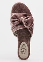 Footwork - Velvet Bow Detail Mules Grey