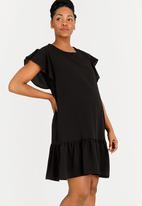 edit Maternity - Chiffon Flutter Sleeve Dress Black