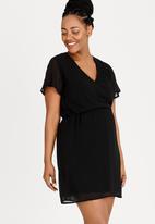 69c1a38bb8020 Flutter Sleeve Dress Black edit Maternity Dresses & Jumpsuits ...