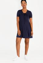 edit Maternity - T-shirt Dress with Lace-up Detail Navy