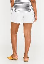 edit Maternity - Linen Fold-over Shorts White