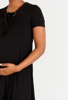 edit Maternity - T-shirt Dress with Lace-up Detail Black