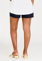 edit Maternity - Linen Fold-over Shorts Navy
