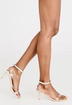 Miss Black - Flora Ankle-strap Heels Gold