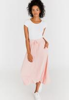 edit - Stretch Maxi Skirt with Front Pockets Pale Pink