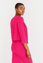 edit - 3/4 Sleeve Cropped Jacket Mid Pink