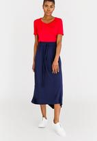 edit - Stretch Maxi Skirt with Front Pockets Navy