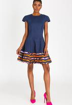 DAVID by David Tlale - Capped Sleeve Baby-doll Flared Dress Navy