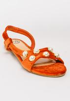 Footwork - Pearl Detail Sandals Burnt Orange