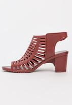 Urban Zone - Jelly Strappy Heels Burgundy