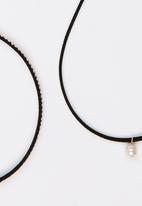 Jewels and Lace - Pearl Choker Twinpack Black