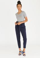 edit - Paperbag High Waisted Stretch Pants Navy