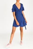 c(inch) - Frill Detail Wrap Dress Mid Blue