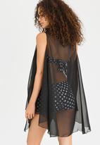 Lithe - Open Sleeveless Kaftan Black