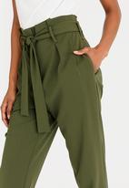 edit - Paperbag High Waisted Stretch Pants Khaki Green