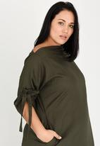 c354e781ecc Kenetswe Linen Dress Khaki Green Plus-Fab Dresses