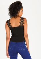 Sissy Boy - Contrast Lace Detail Top Black