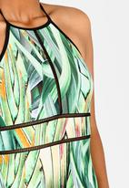 Moontide - Ladder Trim High Neck One Piece Multi-colour