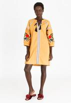 STYLE REPUBLIC - Volume Sleeve Embroidered Dress Yellow