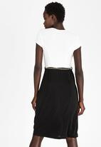 edit - Day to Night Semi-fitted Dress Black and Cream