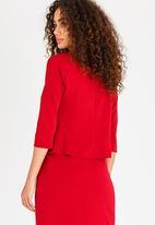 edit - Cropped 3/4 Sleeve Blazer Dark Red