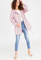 edit - Textured Matt Satin Parka Jacket Pale Pink