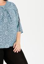 Slick - Torey Eyelit Lace-up Detail Top Turquoise