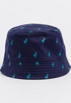 4b88bc1df02 Carl Monogram Reversible Bucket Hat Navy POLO Headwear