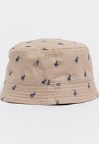 c5b1a6c1df5 Carl Monogram Reversible Bucket Hat Stone POLO Headwear ...