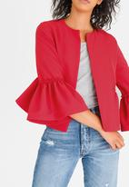 STYLE REPUBLIC - Frill Detail Blazer Red