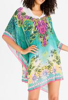 40c7e92aa2 V-neck Beach Kaftan Mid Green Joy Collectables Kaftans & Cover Ups ...