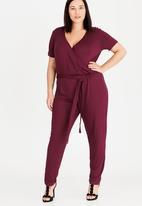 STYLE REPUBLIC PLUS - Flared Sleeve Jumpsuit Dark Red