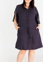 AMANDA LAIRD CHERRY - Bonelwa Longline Shirt Dress Navy