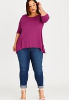 edit Plus - Cold Shoulder T-shirt with 3/4 Sleeves Dark Purple