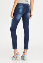 STYLE REPUBLIC - Patch Detail Skinny Jeans Dark Blue