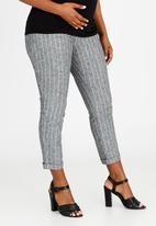 Cherry Melon - Pinstripe Linen Pants Grey