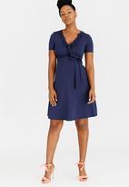 Cherry Melon - Frill Mock Wrap Dress Dark Blue