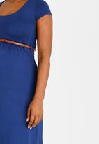 Cherry Melon - Cap Sleeve Belted Scoop Neck Dress Dark Blue