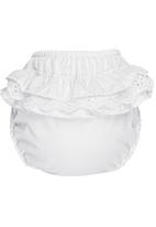 Pickalilly - Printed Diaper With Lace Frill White