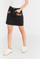Brave Soul - Embroidered Denim Skirt Black