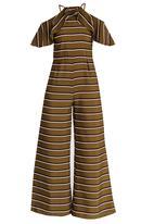 CRAVE - Halterneck Wide Leg Striped Jumpsuit Khaki Green