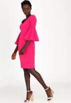 edit - Flared Sleeve Pencil Dress Magenta
