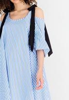 STYLE REPUBLIC - Cold Shoulder Swing Dress Pale Blue