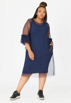 Isabel de Villiers - Tulle Frill Sleeve Dress Navy